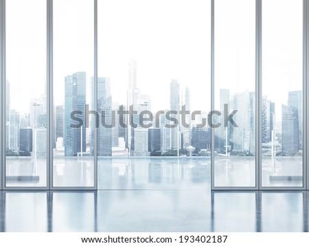 Office interior with balcony - stock photo