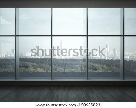 office interior with big windows - stock photo