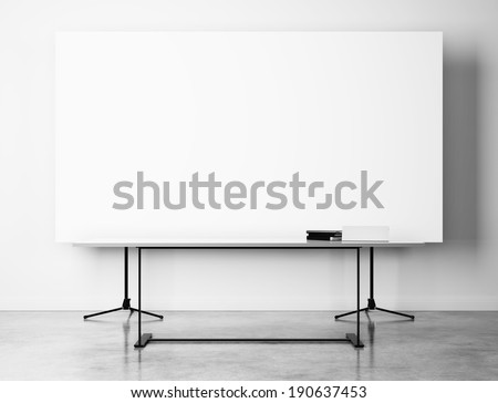 Office interior with blank flip chart - stock photo
