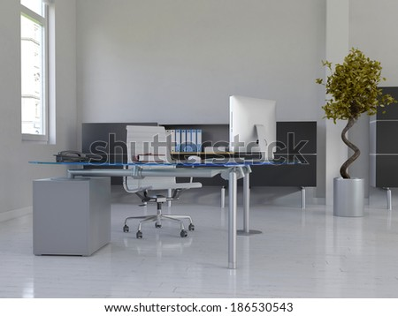 Office interior with desk - stock photo