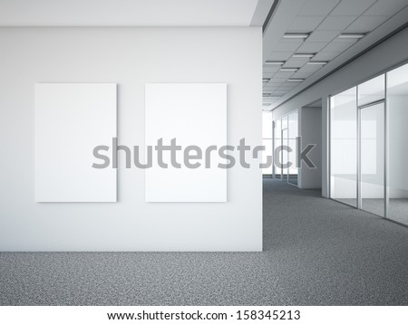 office interior with two white frames - stock photo
