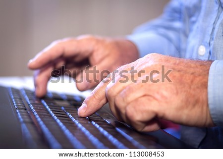 Office job. Businessman typing on a Computer Keyboard. - stock photo