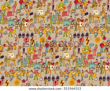 Office life seamless pattern business people. Wallpaper with working business people scenes. Color illustration.  - stock photo