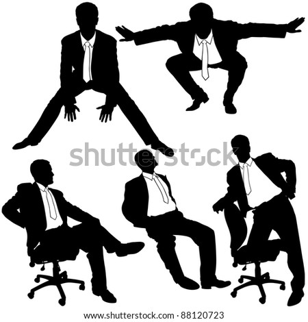 Office Man Posing - business silhouettes - stock photo