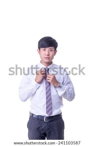 Office man set a necktie - stock photo