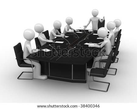 Office meeting in conference room - stock photo