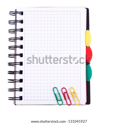 Office notebook isolated on white. Back to school concept. Post it note. - stock photo