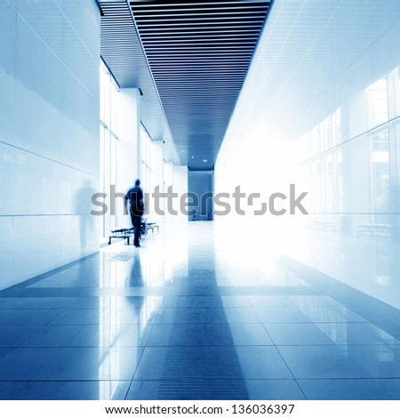 Office of the corridor, modern building interior. - stock photo