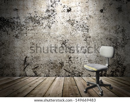 office old plastic chair in a grunge interior - stock photo