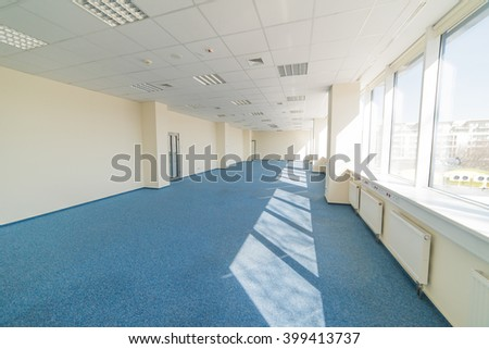 office - openspace - huge glass space-story building - stock photo