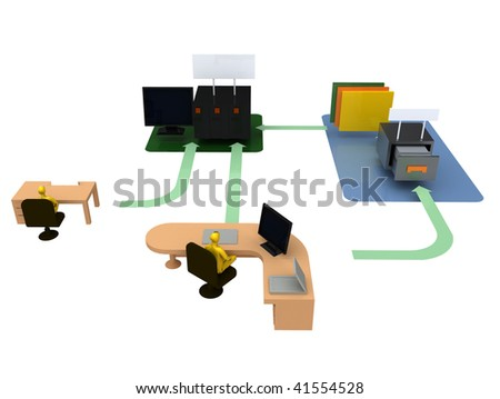 Office organization - Computer server storage workflow and structure diagram / illustration - stock photo