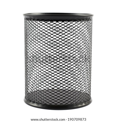 Office paper black empty trash bin isolated over the white background - stock photo