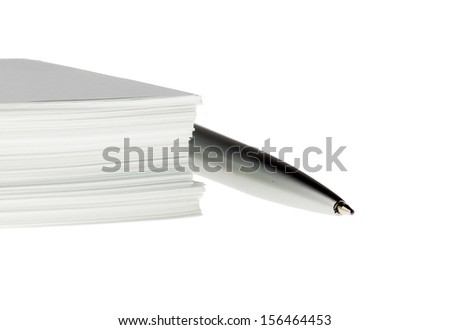 Office paper bundle with pen isolated - stock photo