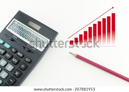 Office pencil and a calculator on white background - stock photo