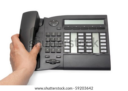 Office phone on white background with clipping path - stock photo
