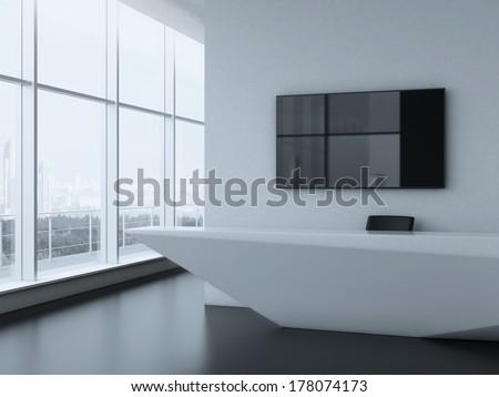 Office reception desk - stock photo