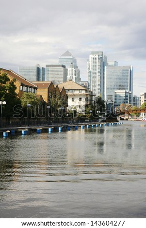 Office skyscrapers in Canary Wharf. Canary Wharf is the main financial district at London  - stock photo