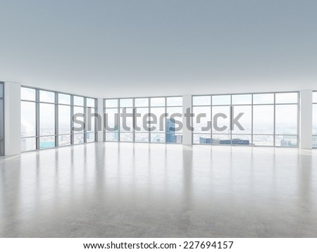 Office space. Business Center. Modern office with windows and panoramic city view.  - stock photo