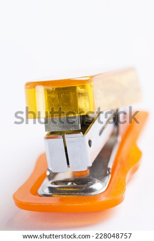 office stapler ready to staple paper - stock photo