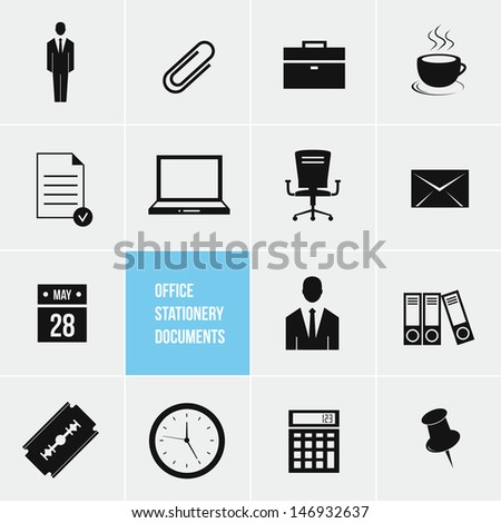 Office Stationery and Documents Icons Set bitmap copy - stock photo