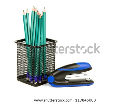 office supplies collection isolated on white background - stock photo