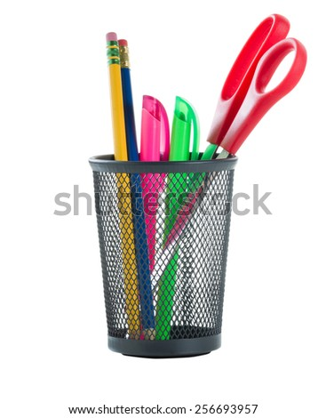Office supplies in small metal basket isolated on white. - stock photo