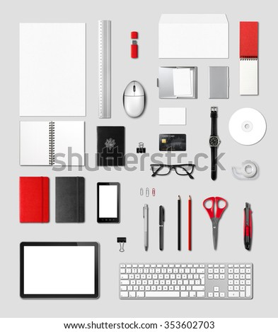 Office supplies mockup template, isolated on grey background note to reviewer : credit card number removed - stock photo