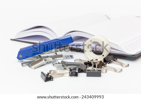 office supplies on a white background side view - stock photo
