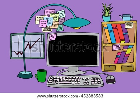 Office table with computer. Hand drawn stock illustration. - stock photo