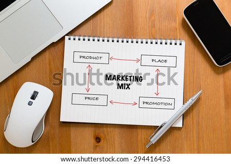 Office table with handbook drafting about marketing mix concept - stock photo