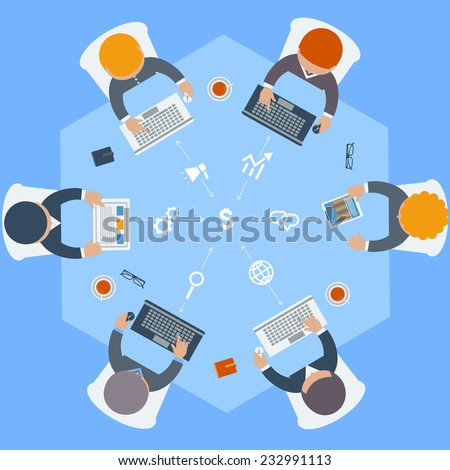 Office teamwork workers business management meeting and brainstorming on round table in top view flat design cartoon style. Raster version - stock photo