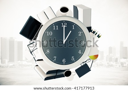 Office tools around big clock on misty city background. Time management concept. 3D Rendering - stock photo