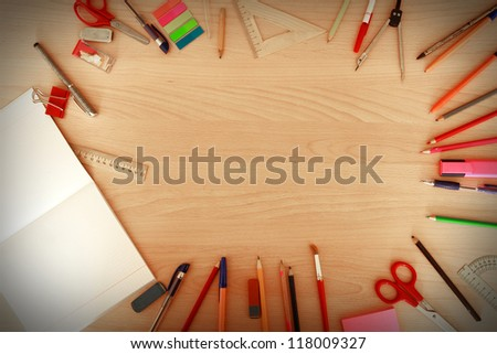 office tools on the table - stock photo