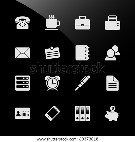 Office Work Workplace Business Financial Web Icons - stock photo