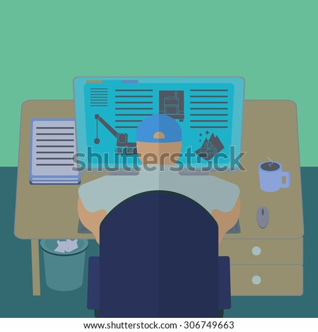 Office worker at his computer desk. Working room section interior view. IT engineer and web designer workplace. Flat design template  illustration. Raster copy of previously submitted image. - stock photo