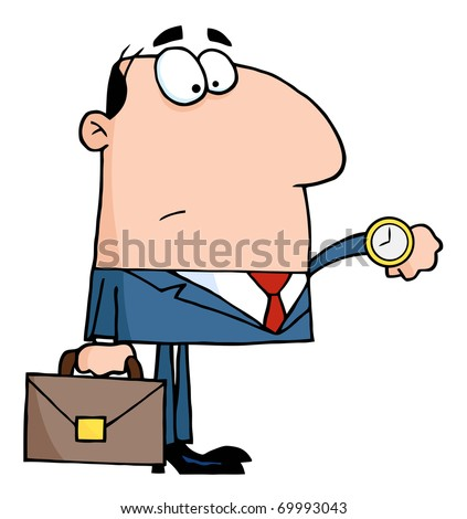 Office Worker Watching The Clock - stock photo
