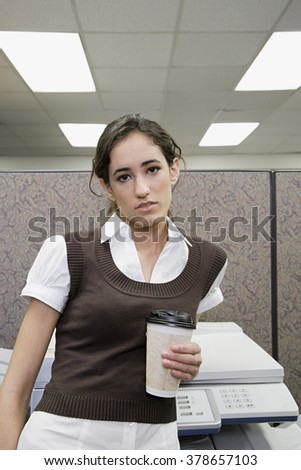 Office worker with coffee - stock photo