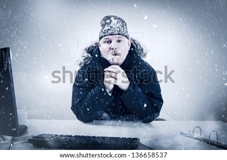 Office worker with mustache in cold snow. Frosty - stock photo