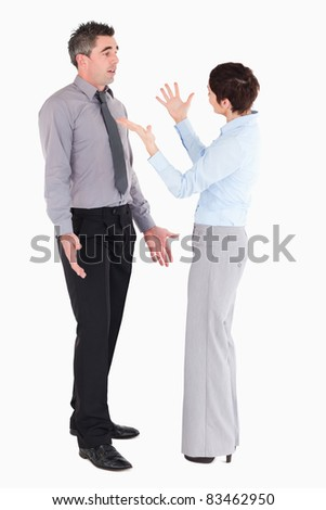 Office workers arguing against a white background - stock photo