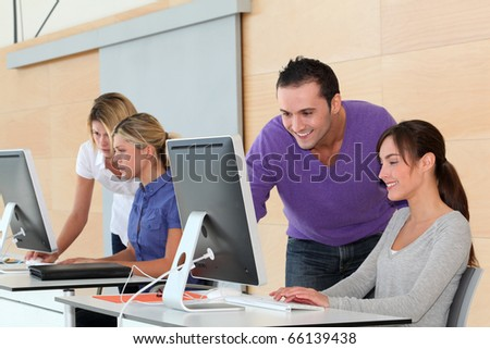 Office workers on business training - stock photo