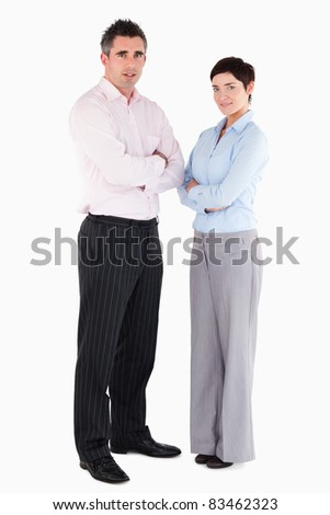 Office workers standing up against a white background - stock photo