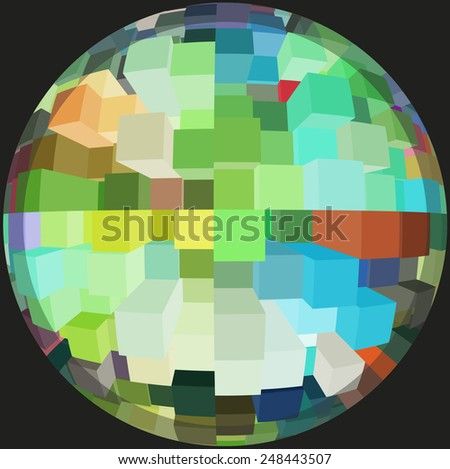 Office world by day: Multicolored abstract of many skyscrapers inside a sphere, isolated on black - stock photo