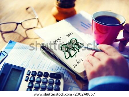 Office Writing Working Team Goals Ideas Support  Concept - stock photo