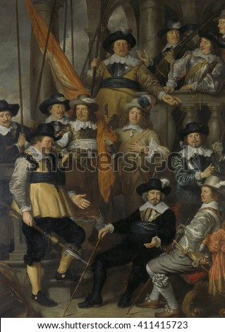 Officers and Gunmen of District VIII in Amsterdam, by Govert Flinck, 1645, Dutch oil painting. Captain Albert Bas and Lieutenant Lucas Conijn sit at lower right with walking sticks in hand. The other - stock photo