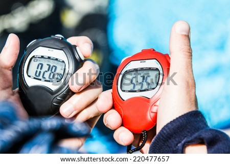 Official Chrono of a Freediving AIDA Performance (on the right) and of the resting period of 30 seconds before the Judge can give the Results - stock photo