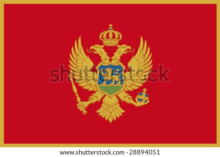 official flag of montenegro - stock photo