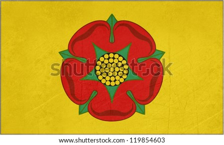 Official grunge flag of Lancashire with red rose, England. - stock photo