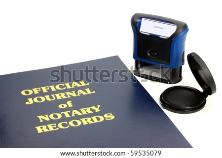 Official notary journal and stamp - stock photo
