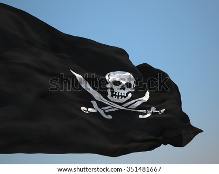 Official pirate flag HD - stock photo