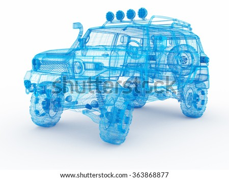 Offroad car design, wireframe model. - stock photo